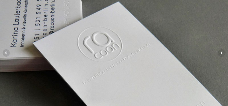racoon | Visitenkarte mit Logoprägung