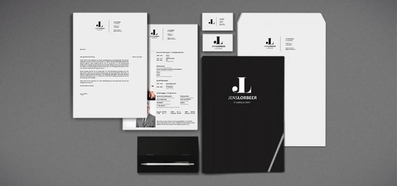 Corporate Design für privat Person | Bewerbungsunterlagen Logoentwicklung, Personenbranding in schwarz/weiß
