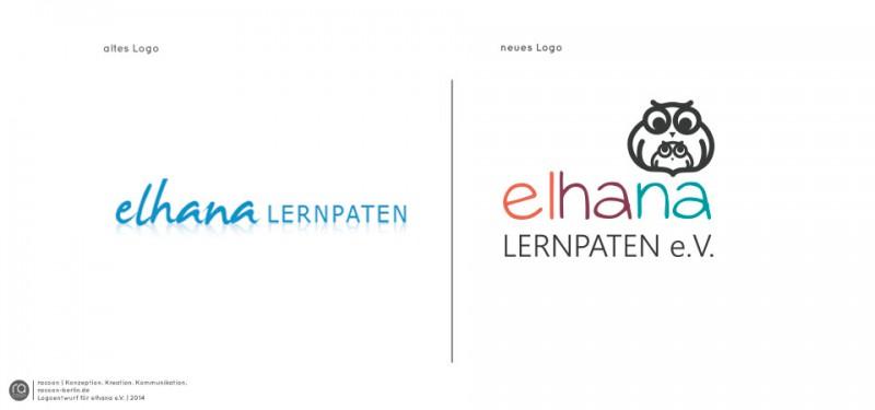 racoon entwürft neues Logo, Konzept und Stylsheet für Verein | elhana LERNPATEN e.V. Berlin
