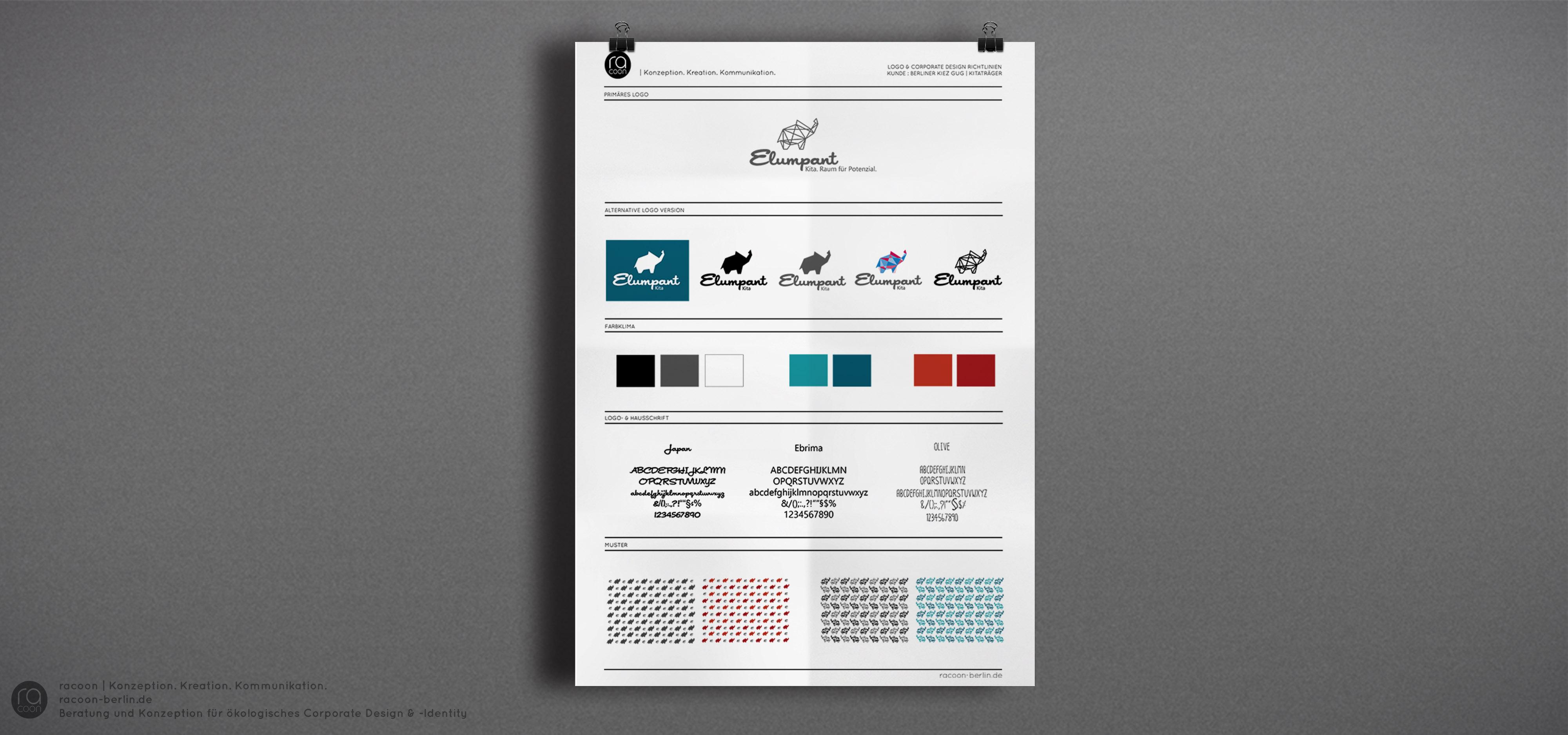 Entwicklung Erscheinungsbild (Corporate Identity & -Design) für Kita, Stylsheet